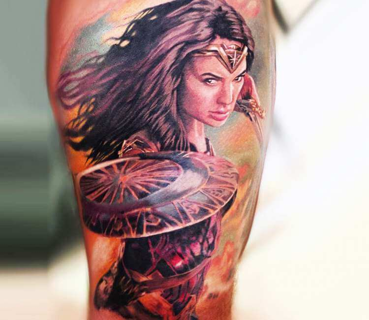0ee4e0a06 2 colors wonder woman tattoo by peter hlavacka ...