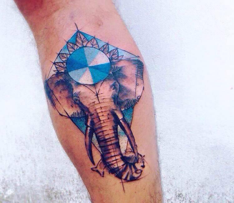 abstract elephant tattoo by pissaro tattoo post 14907 rh worldtattoogallery com Elephant Tattoo Designs elephant tattoo abstract