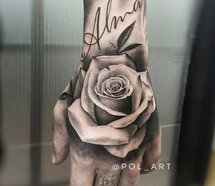 20d3b455f4a82 black and gray rose tattoo by pol tattoo