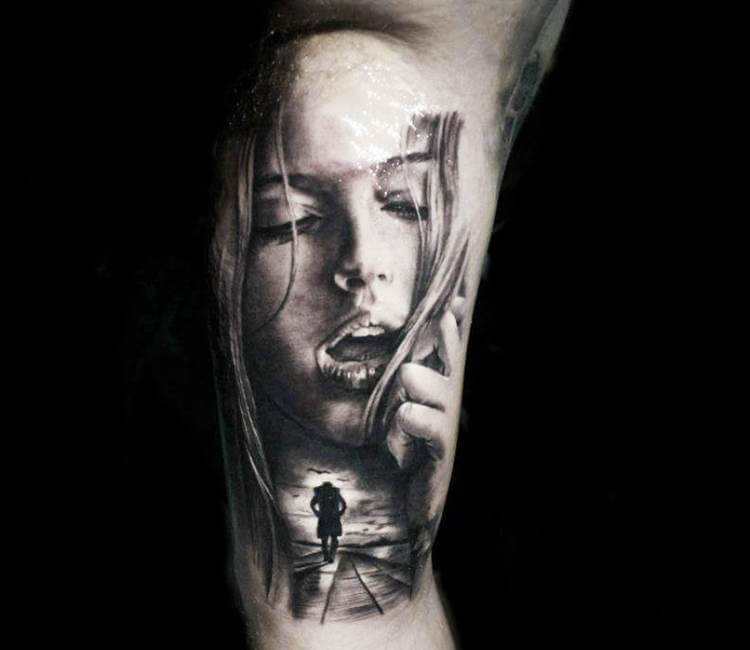 Girl Face Tattoo By Proki Tattoo