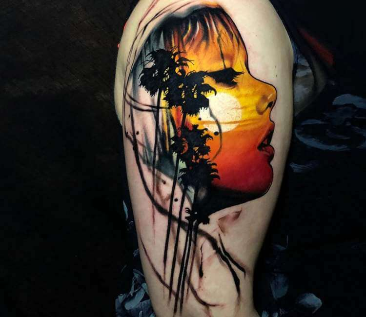 4ad9464e0 Gir face with Palm tree tattoo by Rich Harris | Post 22862