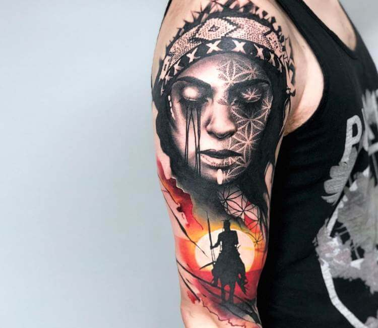 Native american girl tattoo by rich harris post 20399 for Native american woman tattoo