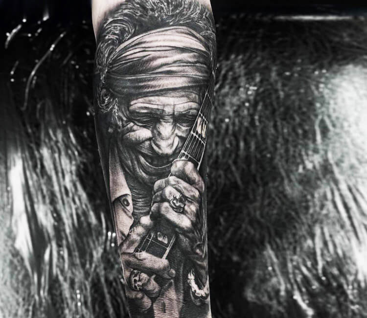 f3b85db60 black and gray rolling stones tattoo by rob richardson