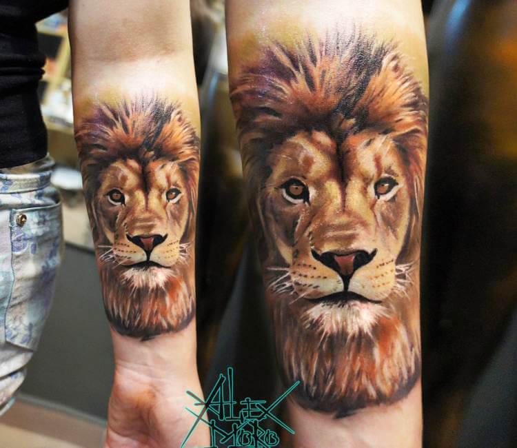Lion Head tattoo by Sanek Tattoo