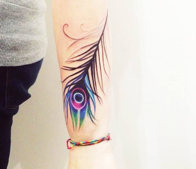 peacock feather tattoo by sasha unisex post 15758