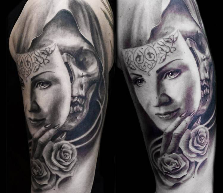Tattoo Woman Face Mask: Skull With Mask Tattoo By Steffi Eff