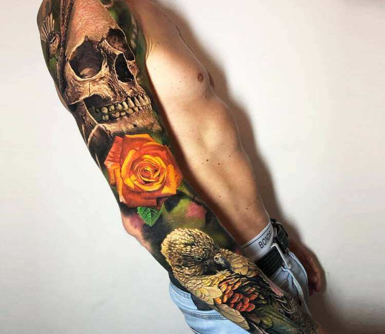 Skull Rose And Bird Tattoo By Steve Butcher Post 26628