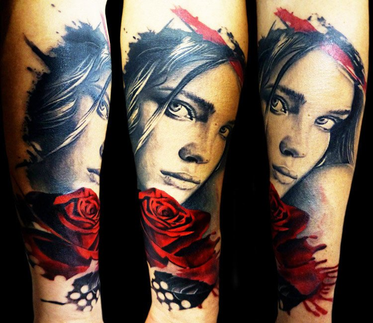 e985955c1043f black and red girl face tattoo by tattoo rascal
