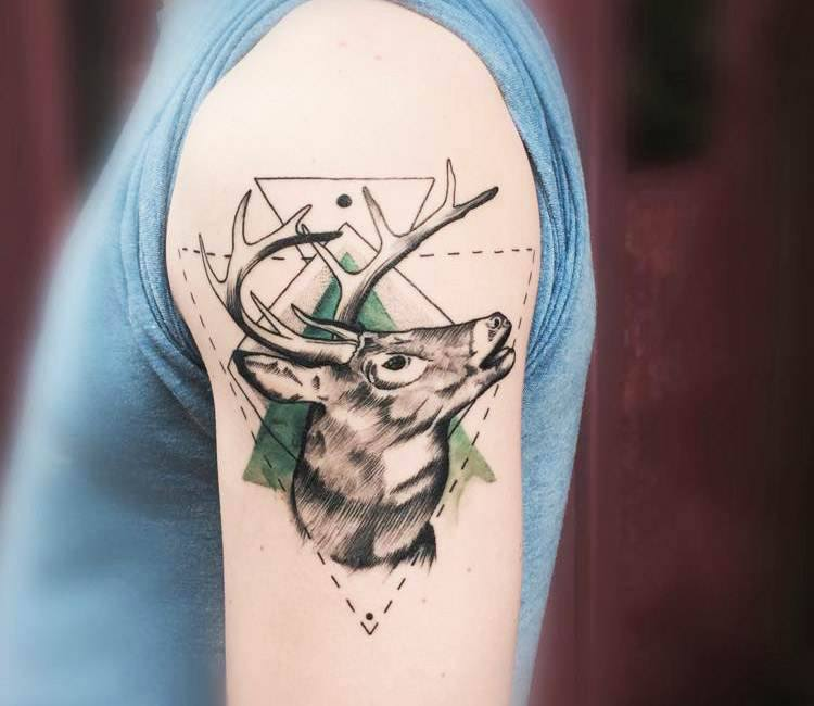 Deer Tattoo By Trudy Lines
