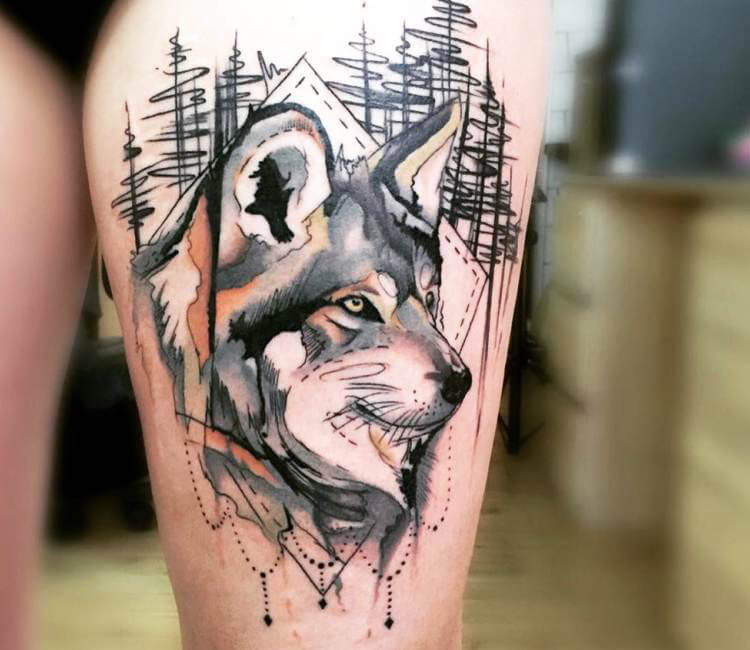 Line Art Wolf Tattoo: Wolf Tattoo By Trudy Lines Tattoo