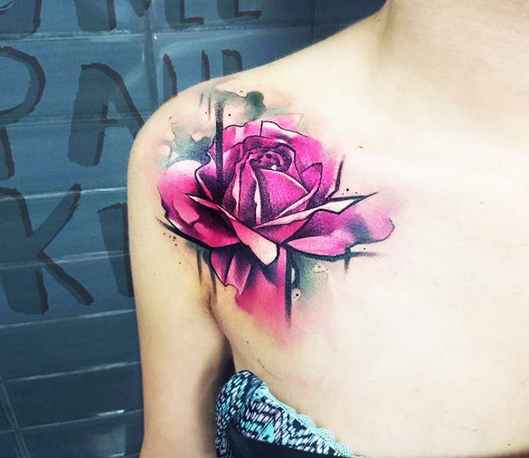 Pink rose tattoo by uncl paul knows post 20841 mightylinksfo