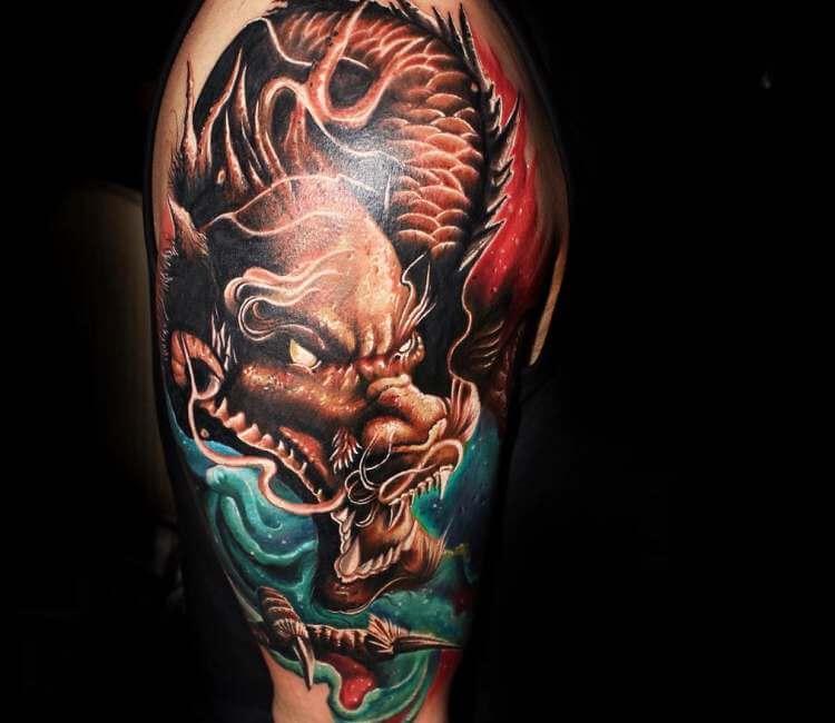 Artist Vacsi Levente Japanese Dragon Tattoo