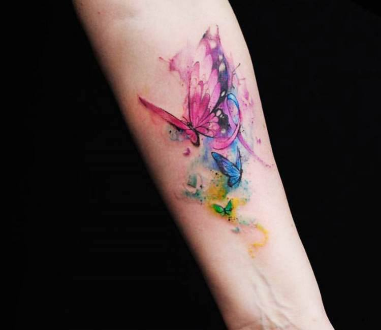 watercolor tattoo butterfly - 750×650