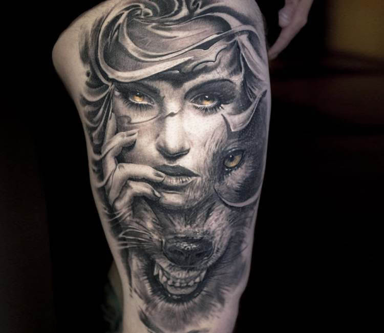 Tattoo Woman Face Mask: Wild Face Tattoo By Victor Portugal