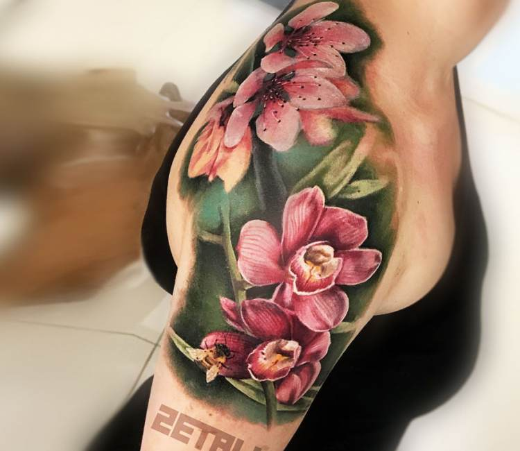 Cherry Flowers Tattoo By Victor Zetall Post 21124