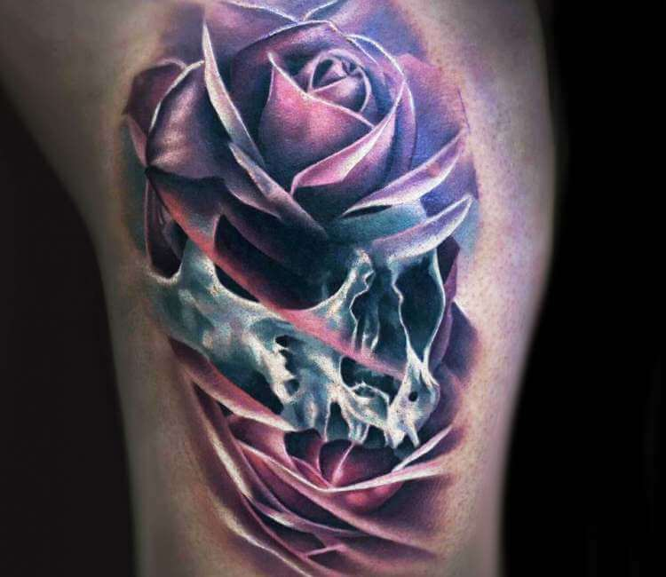 Skull Rose Tattoo By Vid Blanco Post 22069