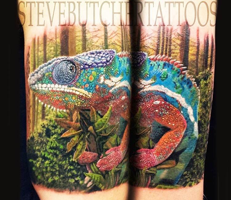 Chameleon Watercolor Tattoo: Chameleon Tattoo By Steve Butcher